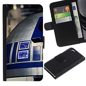 NEECELL GIFT forCITY // Billetera de cuero Caso Cubierta de protección Carcasa / Leather Wallet Case for Apple Iphone 5 / 5S // R2D2