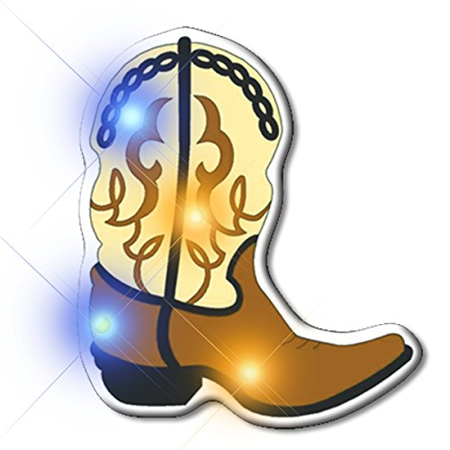 Light Up Brown Cowboy Boot Flashing Blinking LED Body Light Lapel Pins (25-Pack)