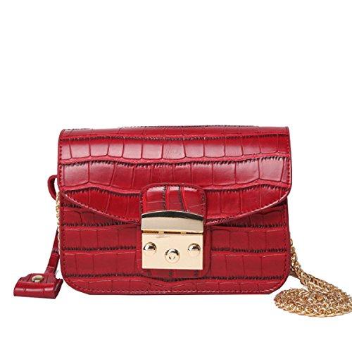 Bolsos Nuevos De Yy.f Bolso Del Mensajero Del Hombro Bolso Del Patrón Del Cocodrilo Mini Bolso Mini Bolso Del Mensajero Multi-color Red