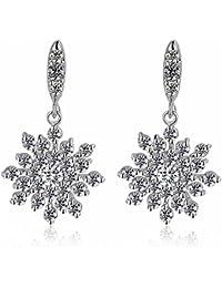 Austrian Crystal Clear Winter Party Snowflake Pierced Flower Wedding Bridal Dangle earrings