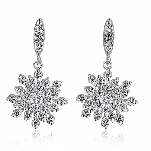 Austrian Crystal Clear Winter Party Snowflake Pierced Flower Wedding Bridal Dangle earrings