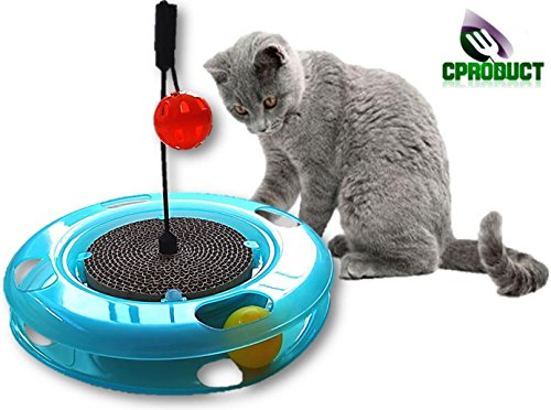 CProduct Activity Center Spinning Tracks Balls, & Scratcher Cardboard Box with Hanging Ball 3 Toys in 1 Cat Toy