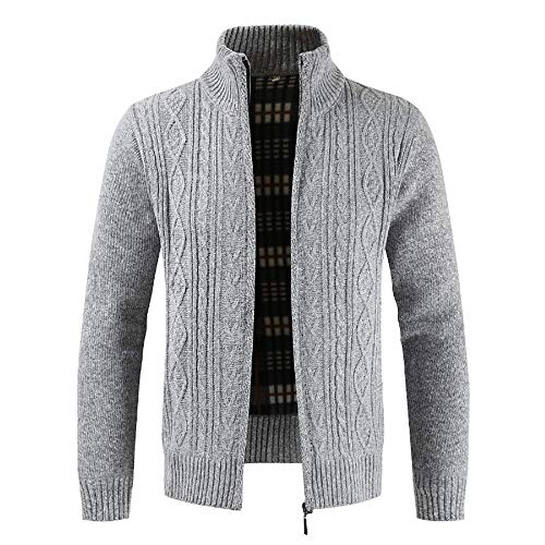 Solid Collar Tops Men Outwear Sweater Cardigan Coats Gray Zipper koiu❀❀Winter Mens Stand Give Winter for Coats fUzPzq