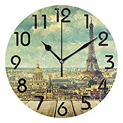 Naanle 3D Retro Style Eiffel Tower Paris Print Round Wall Clock Decorative, 9.5 Inch Battery Operated Quartz Analog Quiet Desk Clock for Home,Office,School