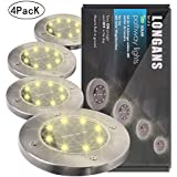 Newly Upgraded Solar Garden Lights Outdoor,Solar Powered ground Lights LED Landscape Lights,Stainless Steel and Wireless Waterproof, Disk lights,Solar Decking Lights,Walkway solar lights (Warm White)