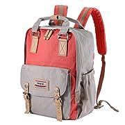 Kissfairy Diaper Backpack Multi-Function Diaper Bag Mother Bag Nappy Bag with Insulated Bottle Pocket(Orange Red)