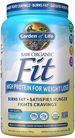 Garden of Life Raw Organic Fit Powder, Vanilla – High Protein for Weight Loss (28g) plus Fiber, Probiotics & Svetol, Organic & Non-GMO Vegan Nutritional Shake, 20 Servings
