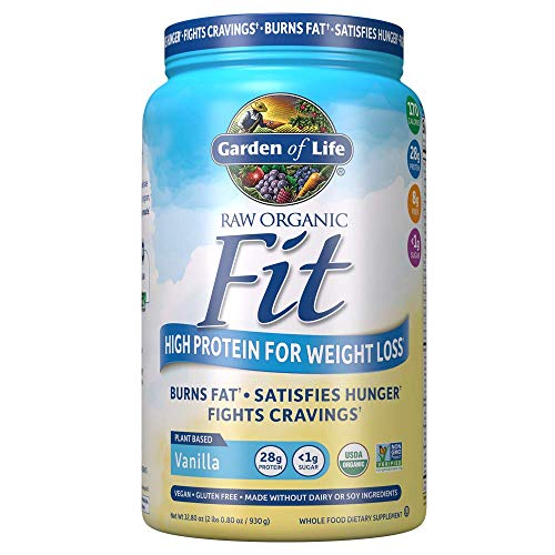 Garden of Life Organic Meal Replacement - Raw Organic Fit Powder, Vanilla - High Protein for Weight Loss (28g) Plus Fiber, Probiotics & Svetol, Organic & Non-GMO Vegan Nutritional Shake, 20 Servings ()