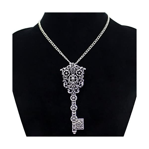 Q&Q Fashion Vintage Victorian Filigree Skeleton Key Watch Clock Gear Cog Steampunk Chain Pendant Necklace 4