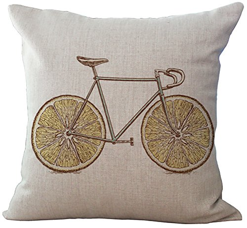 ChezMax Linen Cotton Office Chair Seat Cushion Cover For Sofa Couch Throw Pillow Case Kid Bedroom Vintage Bike 18'' X 18''