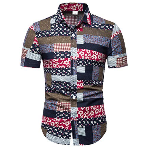 Lapel Printing Short Sleeve Shirt Men's New Pattern Casual Fashion Printing -