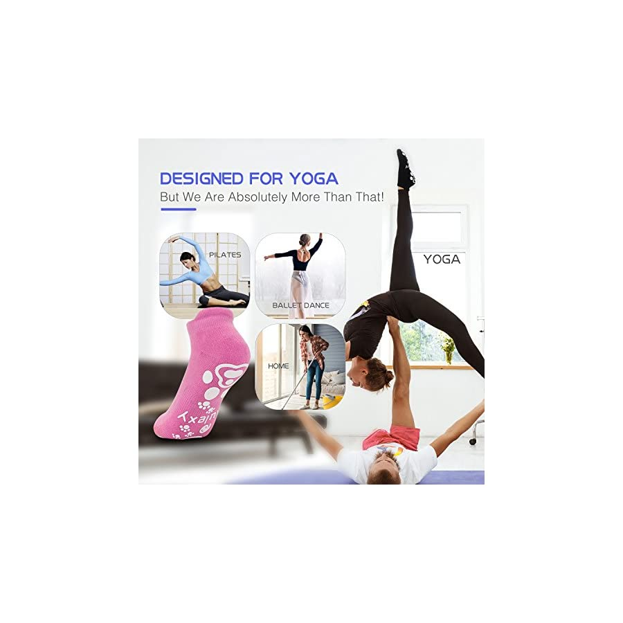 Women Non Slip Skid Socks with Grips for Yoga Pilates Barre Home, Cotton 4 Colors 4 Pairs