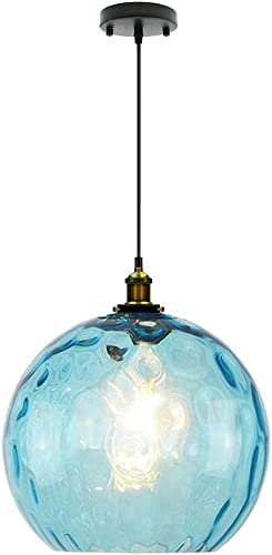 I-xun Modern Pendant Lighting Blue Industrial Design E27 Glass Pendant Light LampShade Ceiling Lighting 11.8 30cm