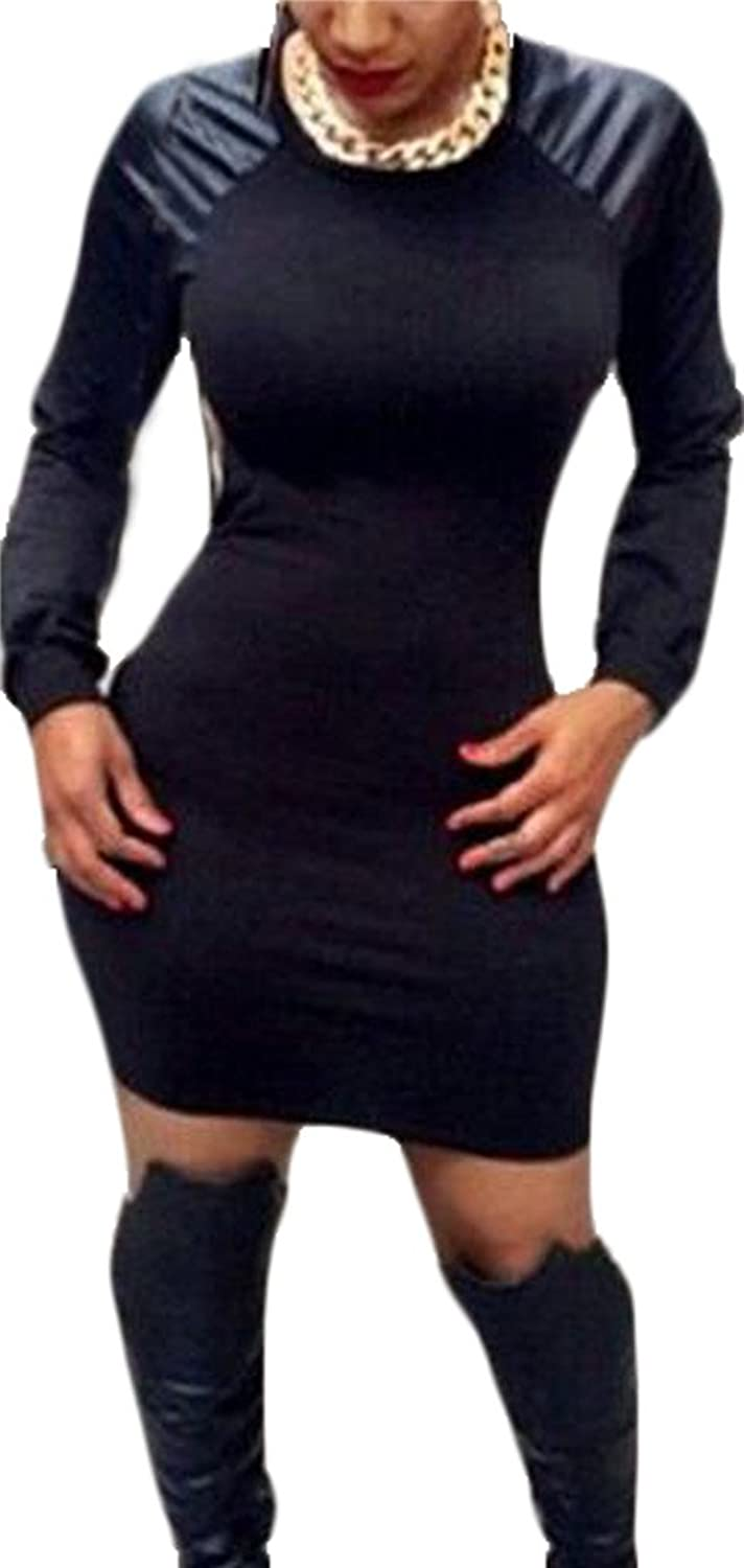 MLG Women's Silm Sexy Round Neck Leather Contrast Bodycon Dress