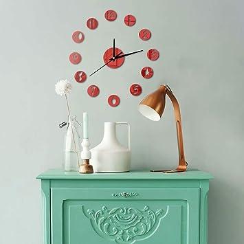 FlorLife - Reloj de Pared con números Redondos, Digital, Autoadhesivo, 3D, Moderno