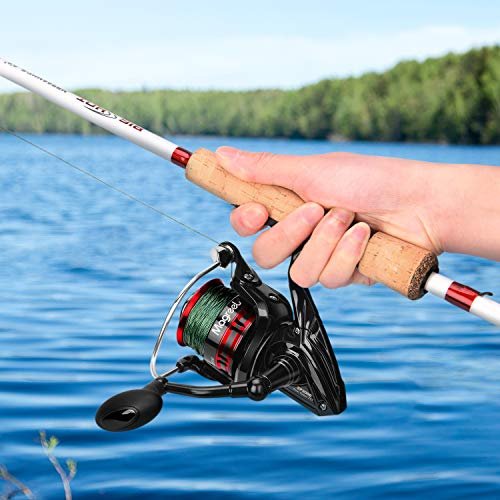 Magreel Spinning Reel Fishing Reel with Spare Plastic Spool, 10+1 Stainless Steel Shielded Bearings, High Gear Ratio7.1:1/6.7:1 CNC Aluminum Alloy Spool Large Rubber Knob