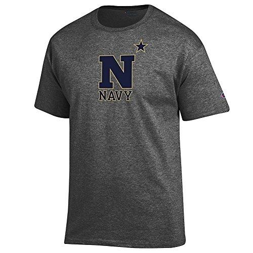 Elite Fan Navy Midshipmen Men's Short Sleeve Arch Tee Shirt, Dark Heather, X -