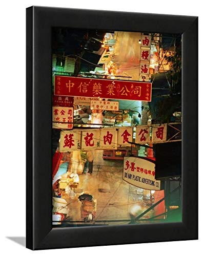 ArtEdge Chinese Banners Hanging At Wet Market, Central, Hong Kong, China Ray Laskowitz, Black Framed Wall Art Print, 12x9 (Market Central Hong Kong China)