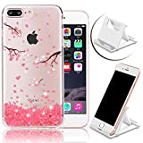 iPhone 7 Plus 5.5 inch Case,Vandot Premium Diamond Bling Sparke Crystal Clear Soft TPU Ultra Slim Perfect Fit Transparent Cover Shockproof Non-slip Skin Shell+Phone Holder-Pink Cherry Flower Blossom