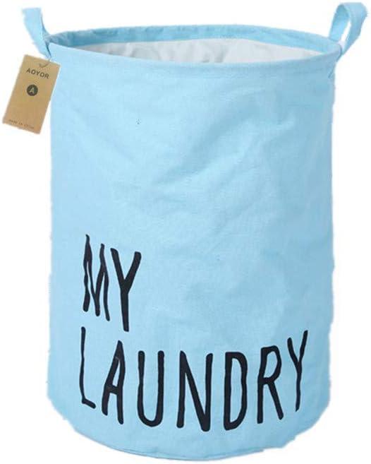 AOBOR Printed Ramie Cotton Fabric Folding Laundry Storage Basket Toy Laundry Hamper with Handle (Sky-Blue(My Laundry))