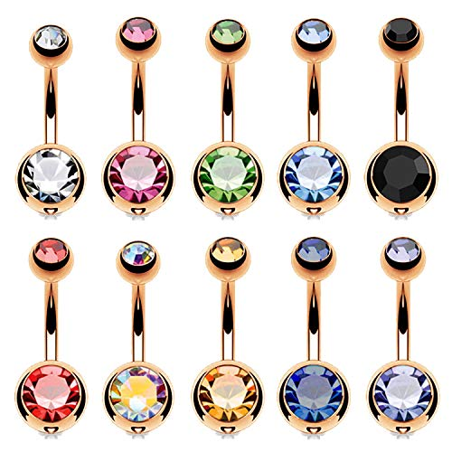 BodyJ4You 10PC Belly Button Ring Double Multicolor CZ Rose Goldtone Steel 14G Navel Piercing ()