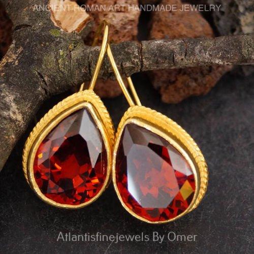 - Sterling Silver Handmade Drop Garnet Large Earrings By Omer 24k Gold Vermeil