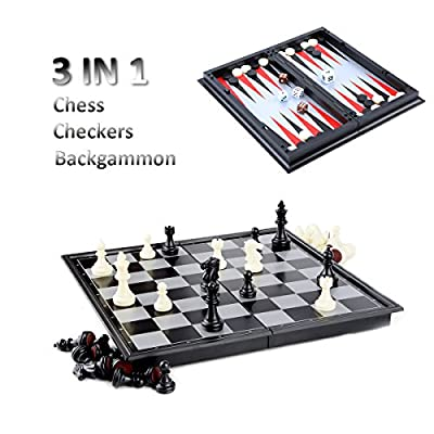 Chess/Checkers/Backgammon 3 in 1 Set, Hoshin Portable Folding Travel Magnetic Chess Board for Kids, 9.8 x 9.8 x 0.8 Inch