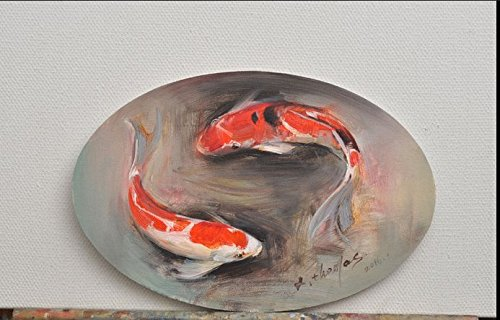 Real Hand Painted Koi Carp Fish Brocade Carp Oval Canvas Oil Painting for Home Wall Art Decoration, Not a Print/ Giclee/ Poster