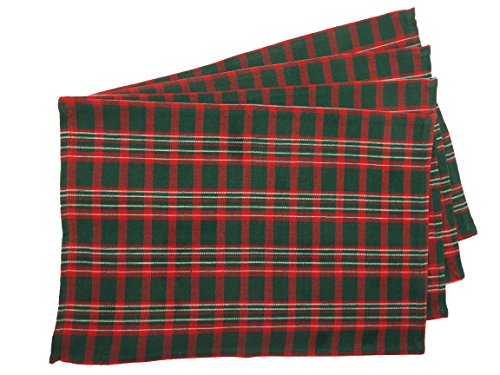 Christmas Green and Red Plaid - Set of 4 - 13 x19 - Red Green Placemat