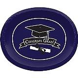 "Club Pack of 96 School Colors-Classic Purple ""CONGRATS GRAD!"" Disposable Paper Oval Party Platters 12"""