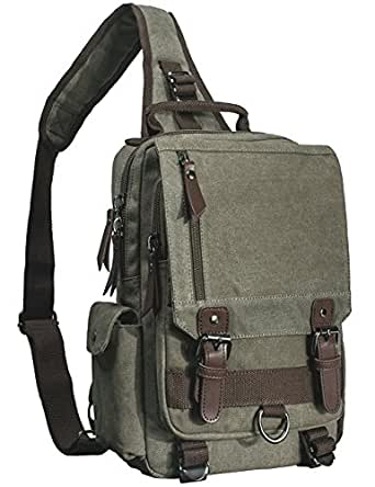 Mygreen Sling Bag Messenger Bag Shoulder Backpack Crossbody Bag Small Sport Bag Canvas Army Green