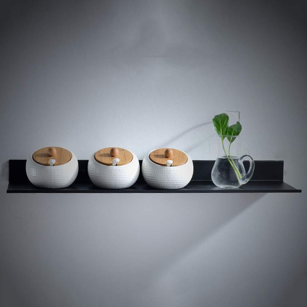 Yardwe Mensole da Bagno a Parete per Il Bagno Nero Porta Sapone per Doccia Scaffale da Cucina Scaffale da Bagno con Caddy Organizer 40cm