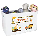 Personalized Construction Childrens Nursery White Open Toy Box