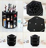 Bestrice Multi Function Large Capacity 360 Degrees Rotating Cosmetics Storage Revolving Makeup Organizer Display Box (Black)