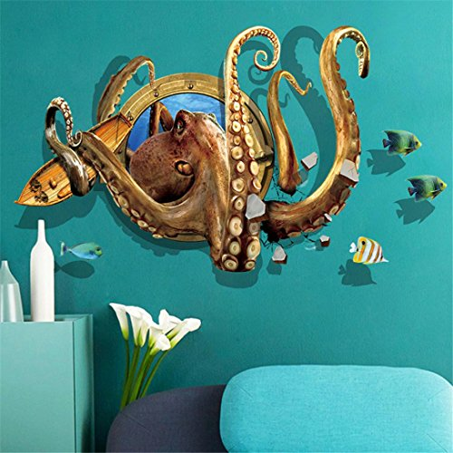 Cheap  Voberry 3D DIY Octopus Removable Wall Sticker Mural Wall Decals for Home..