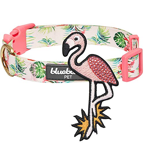 Blueberry Pet 2019 New Summer Hawaiian Palm Leaf Dog Collar with Cute Flamingo, Small, Neck 12
