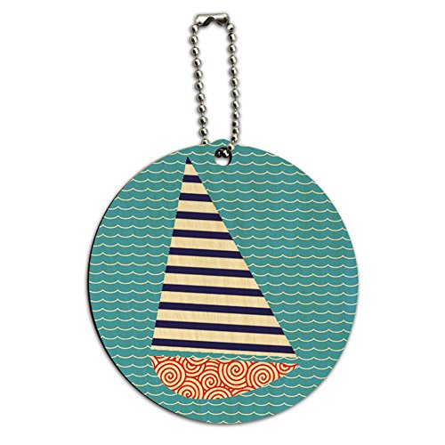 Sailboat Nautical Theme Wedding Bon Voyage Round Wood ID Tag Luggage Card