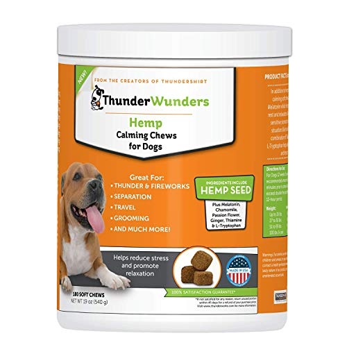 ThunderWunders Hemp Dog Calming Chews - Anxiety Supplement with Hemp Seed and Oil, Thiamine, L-Tryptophan, Melatonin and Ginger