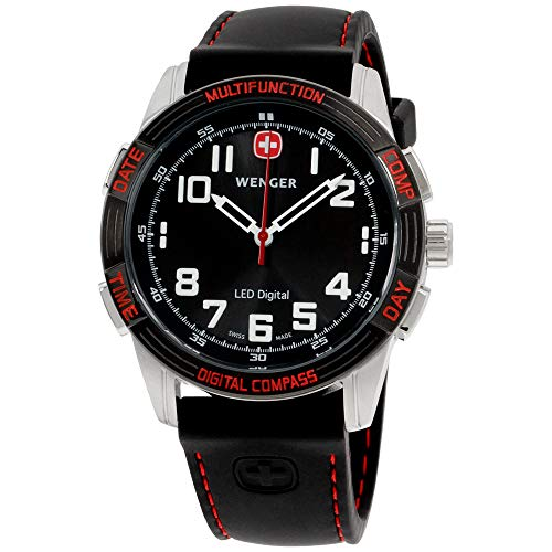 Wenger Men's 70430 Nomad Compass Red LED Black Silicone Strap Watch Day Date Wenger Swiss Watch