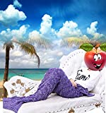 Funwill Knitted Mermaid Tail Quilt Blanket Adults (76.7x37.4, Purple)