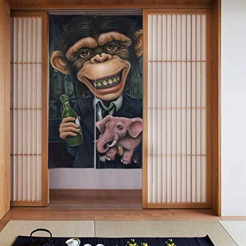 オランウータンの赤ちゃん象を保持 間仕切り ドアカーテン スクリーン のれん おしゃれ 玄関 寝室 酒場 布 仕切りカーテン 取付簡単 出入り楽々 カーテン シャワーカーテン シェーディング 断熱 人気 装飾 和風 北欧風 86X143CM