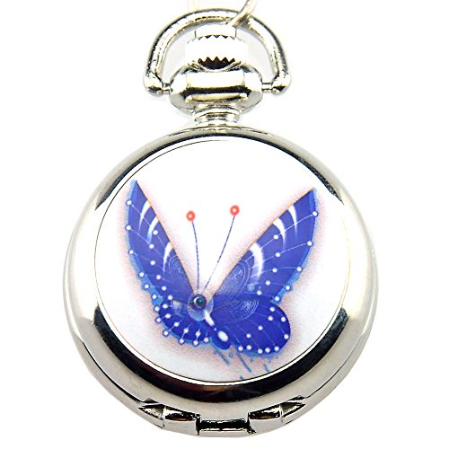 Women's Blue Butterfly Silver Pendant Quartz Pocket Watch with Necklace Chain with Gift Box Quartz Silver Pendant Watch