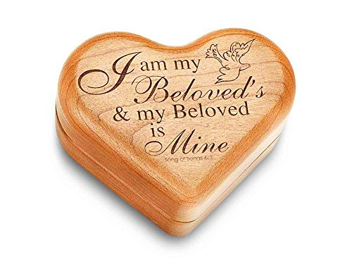 Music Box 3'' Heart - Song of Songs 6:3 - Amazing Grace by Heartwood Creations