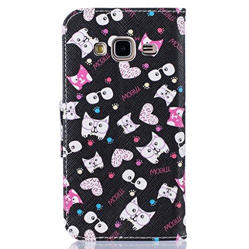 Trumpshop Smartphone Carcasa Funda Protección para Samsung Galaxy J3 (2016) SM-J320 [Lirio] PU Cuero Caja Protector Billetera con Cierre magnético Choque Absorción Gatos