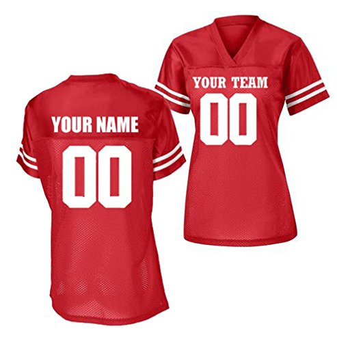 (Womens Custom Football Replica Team Jersey (XXX-Large, Red))