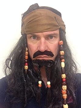 Peluca de Pirata con Cabello y Cuentas de Jack Sparrow del Caribe con Barba para Disfraz