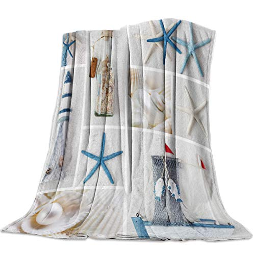 "Savannan Flannel Fleece Bed Microfiber Throw Blanket for Couch Soft, Lightweight, Warm and Cozy Nautical Sea World Starfish Shell 60"" x 80"""