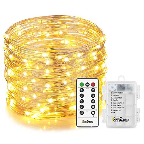 Homestarry Fairy Lights 6 AA Battery Powered Waterproof 8 Modes Silver with Remote for Outdoor, Garden, Patio, Party, Christmas, 33 ft 132 LEDs, Wire, Warm White