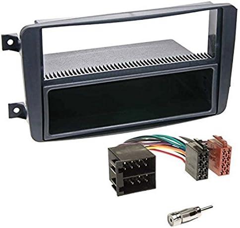 Sound-way Kit Montaje Autoradio, Marco 1 DIN Radio para Coche, Cable Adaptador Conector ISO, Adaptador Antena, Compatible con Mercedes classe C CLK ...