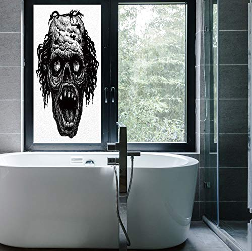 YOLIYANA The Visual Effect of Textured Glass and Stained Glass,Halloween,is Good for Long Year Under The Sunshine,Zombie Head Evil Dead Man Portrait Fiction -